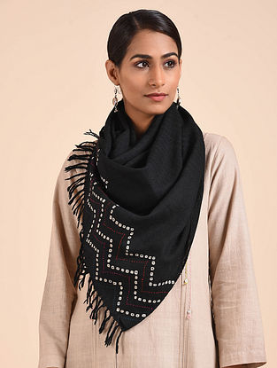 Black Handwoven Bandhani Merino Wool Stole with Kantha Embroidery