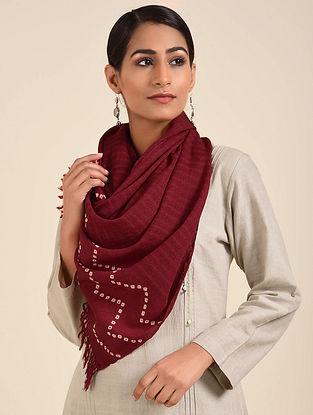 Maroon Bandhani Handwoven Merino Wool Stole
