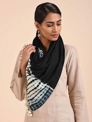 Indigo-White Shibori Handwoven Merino Wool Stole