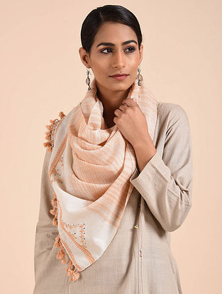 Ivory-Peach Hand Embroidered Handwoven Merino Wool Stole