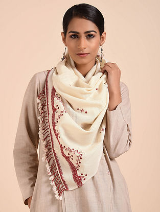Cream-Maroon Hand Embroidered Handwoven Merino Wool Stole