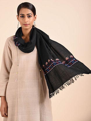 Black Hand Embroidered Handwoven Merino Wool Stole