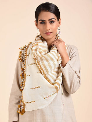 Off- White-Brown Hand Embroidered Handwoven Merino Wool Stole