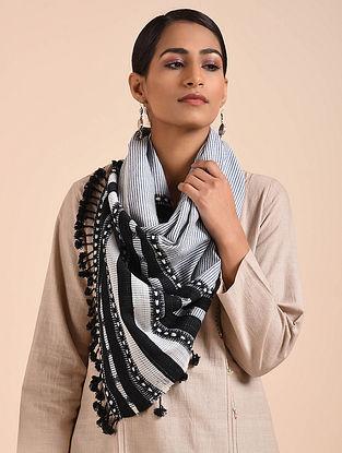 Ivory-Black Handwoven Merino Wool Stole