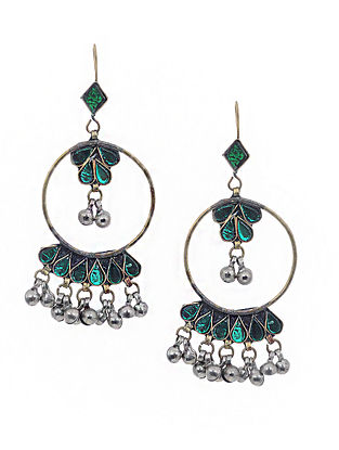 Green Dual Tone Glass Vintage Earrings With Ghunghroo