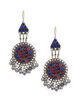 Red Blue Dual Tone Handcrafted Vintage Glass Earrings With Ghunghroo