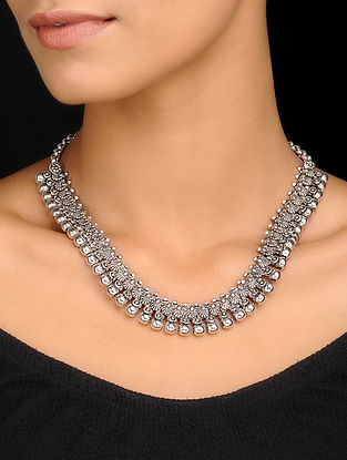 Silver Tone Handcrafted Tribal Necklace
