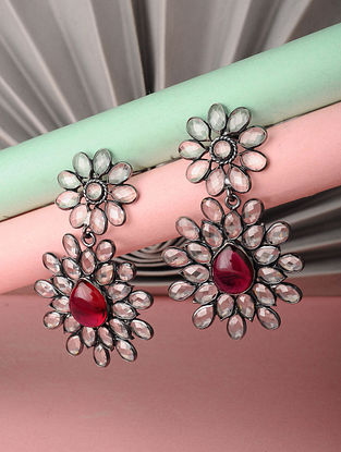 Red Silver Earrings with Crystals