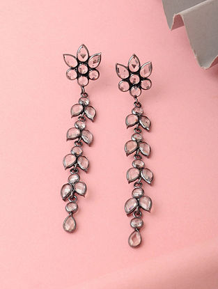 Silver Earrings with Crystals