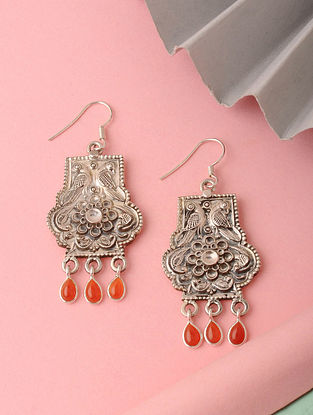 Tribal Silver Earrings with Red Onyx