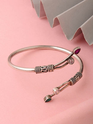 Pink Green Tribal Silver Bracelet