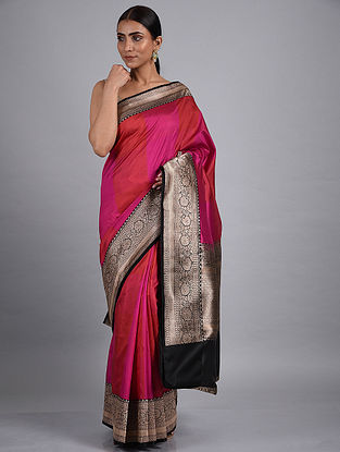 Pink-Red Handwoven Benarasi Silk Saree
