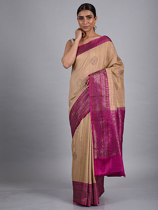 Beige-Purple Handwoven Benarasi Raw Silk Saree