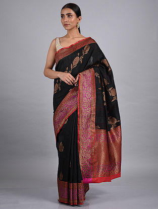 Black Handwoven Benarasi Raw Silk Saree