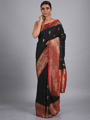 Black-Red Handwoven Benarasi Tussar Silk Saree