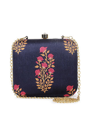 Blue-Multicolor Handcrafted Clutch