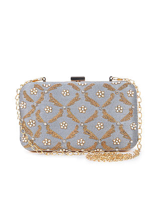 Grey-Gold Handcrafted Clutch