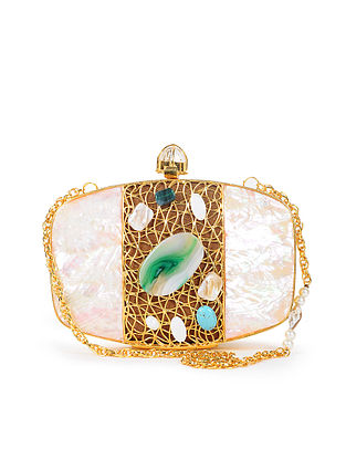 White-Multicolor Handcrafted Clutch