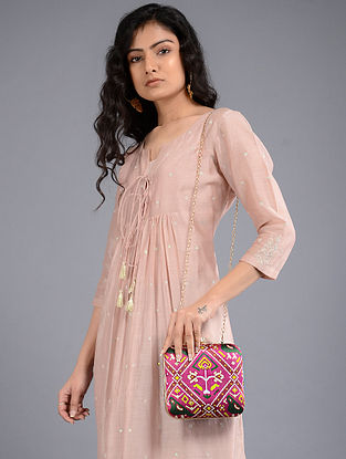 Pink-Multicolored Handcrafted Bandhej Printed Clutch