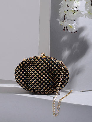Black-Gold Handcrafted Silk Clutch