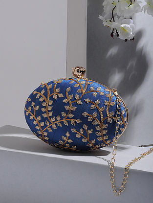 Blue-Gold Handcrafted Silk Clutch