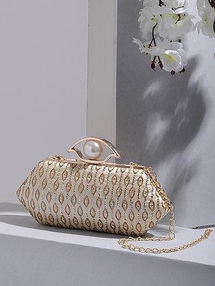 Cream-Gold Handcrafted Silk Clutch