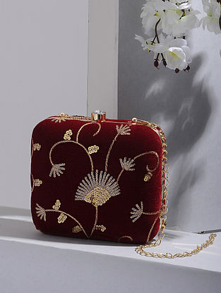 Red-Gold Handcrafted Velvet Clutch