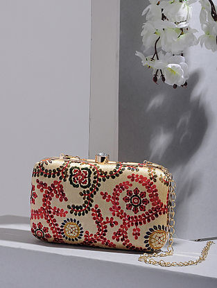 Beige-Multicolored Handcrafted Silk Clutch