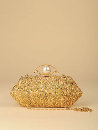 Gold Hand Embroidered Silk Clutch