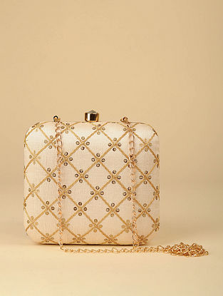 Beige Handcrafted Silk Clutch