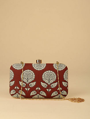 Brown Printed Silk Clutch