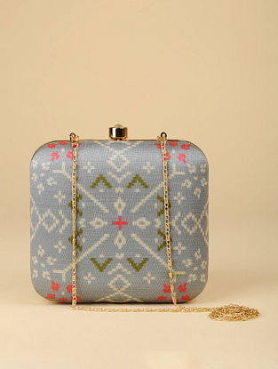 Blue Printed Silk Clutch