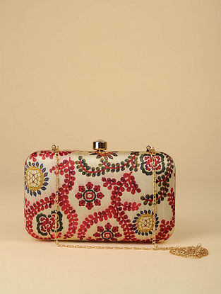 Beige Red Printed Silk Clutch