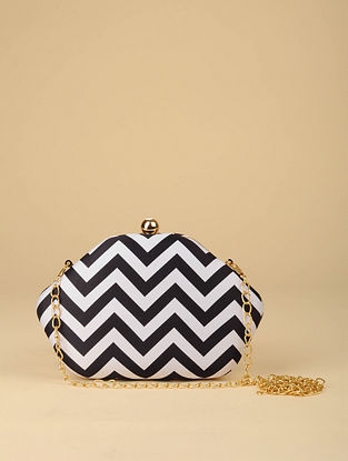 Black White Printed Silk Clutch