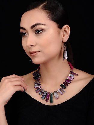 Multicolored Agate Beaded Necklace with Earrings (Set of 2)