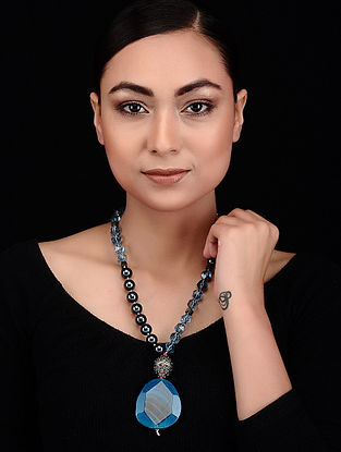 Blue-Black Kyanite Druzy and Shell Pearl Beaded Necklace