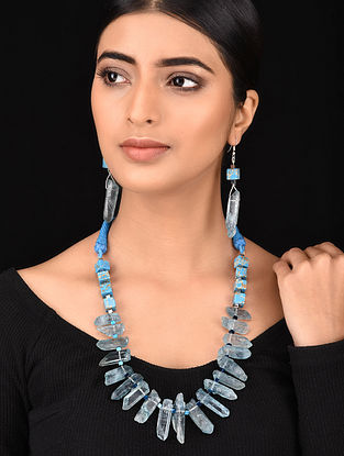 Blue Silver Tone Necklace with Earrings (Set of 2)