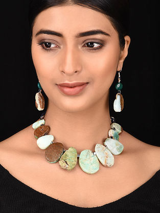 Multicolored Silver Tone Necklace with Earrings (Set of 2)