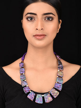 Purple Gold Tone Handcrafted Necklace