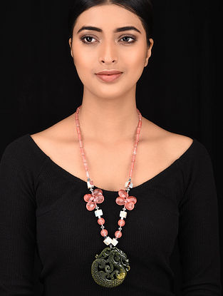 Pink Brown Silver Tone Handcrafted Necklace