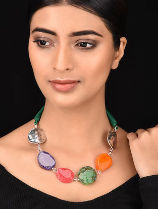 Multicolored Silver Tone Handcrafted Necklace