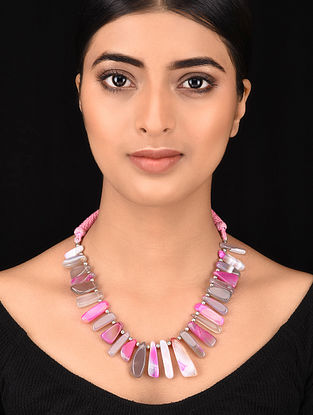 Pink Silver Tone Handcrafted Necklace