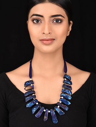 Blue Gold Tone Handcrafted Necklace