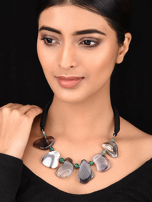 Black Silver Tone Handcrafted Necklace
