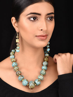 Blue Gold Tone Necklace with Earrings (Set of 2)