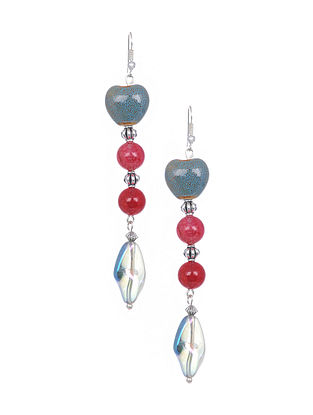 Blue Red Silver Tone Handcrafted Earrings
