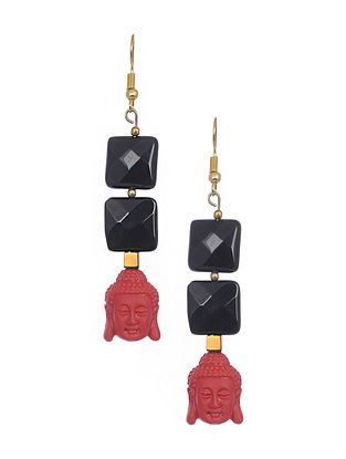 Black Red Gold Tone Handcrafted Earrings