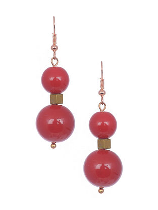 Red Gold Tone Handcrafted Earrings