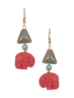 Red blue Gold Tone Handcrafted Earrings