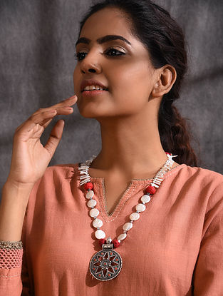 Tribal Silver Necklace with Coral and Pearls